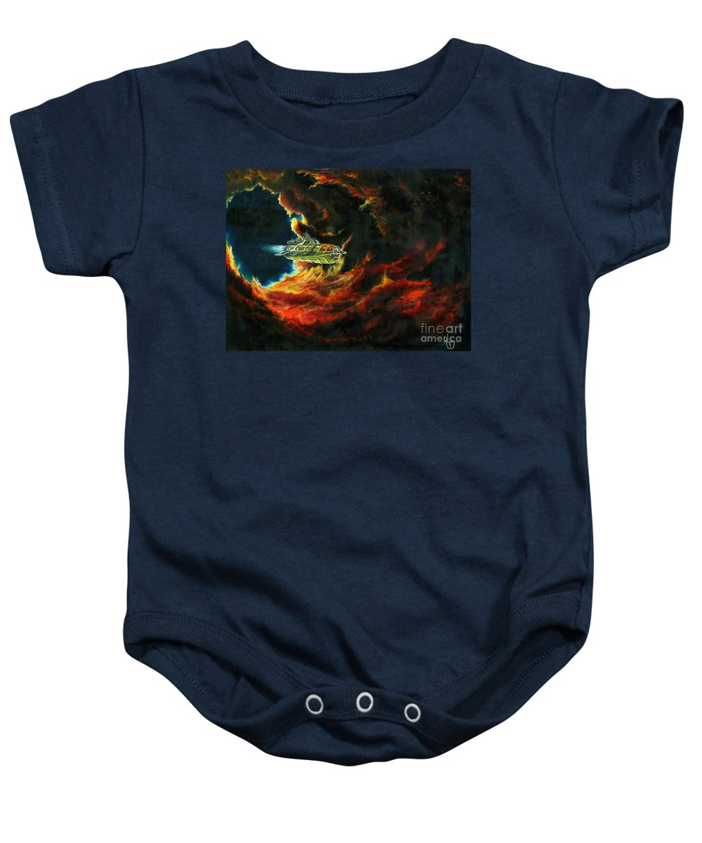 Devil Baby Onesie featuring the painting The Devil's Lair by Murphy Elliott