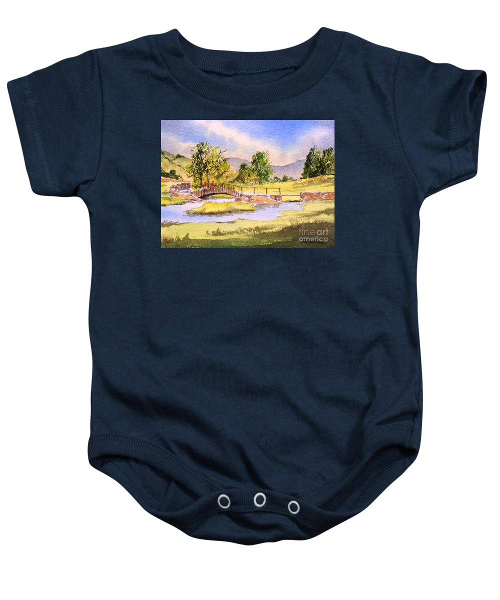 The Lake District Baby Onesie featuring the painting The Lake District - Slater Bridge by Bill Holkham