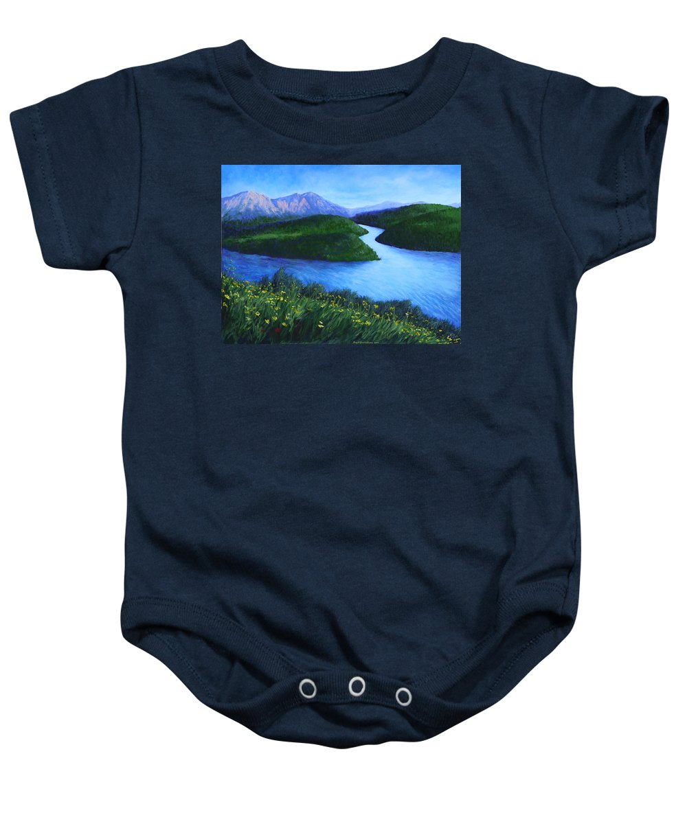 Landscape Baby Onesie featuring the painting The Mountains Beyond by Penny Birch-Williams
