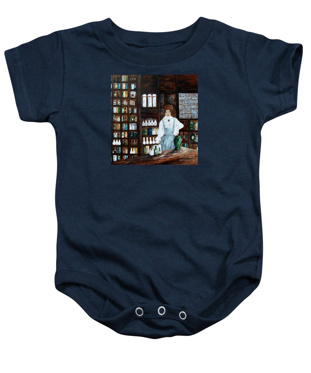 Apothecary Baby Onesie featuring the painting The Old Pharmacy ... Medicine In The Making by Eloise Schneider