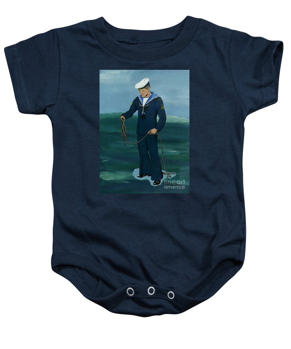 Sailor Baby Onesie featuring the painting The Sailor by Anthony Dunphy