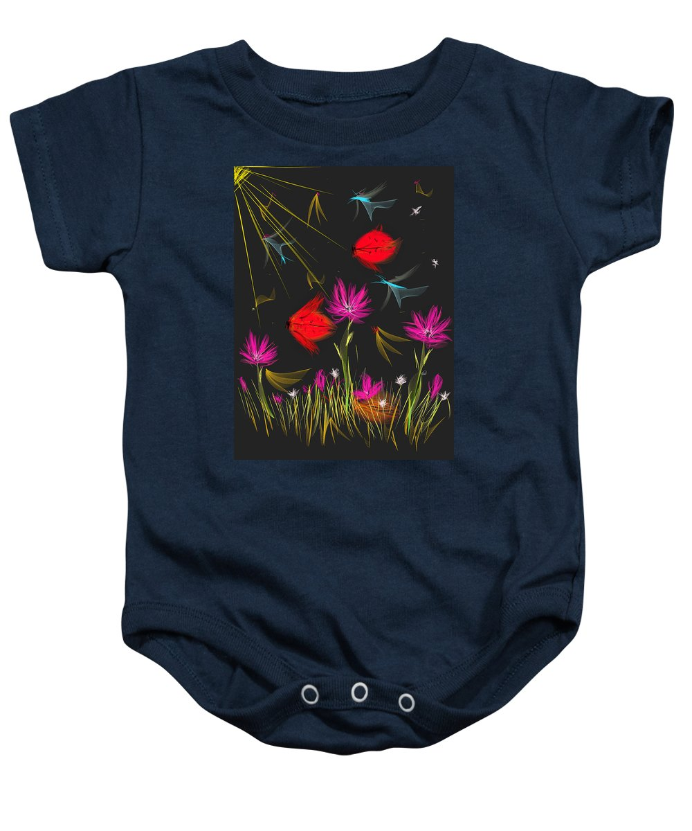 Ipad Baby Onesie featuring the painting The Secrets Of The Night by Angela Stanton