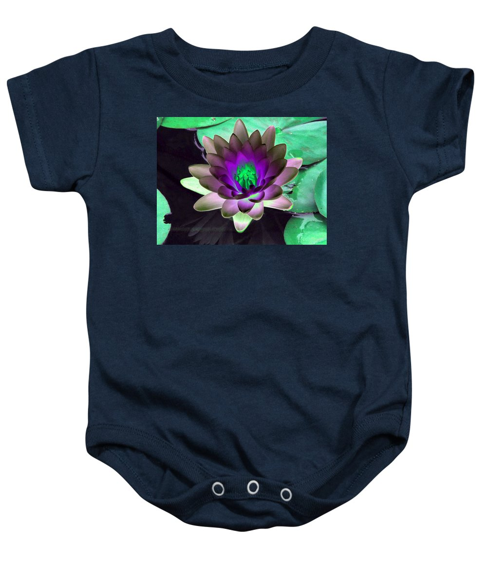 Water Lilies Baby Onesie featuring the photograph The Water Lilies Collection - Photopower 1114 by Pamela Critchlow