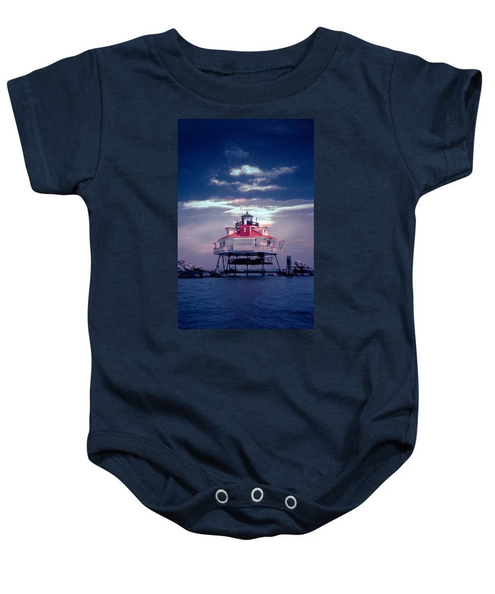 Lighthouse Baby Onesie featuring the photograph Thomas Pt. Shoal Lighthouse by Skip Willits