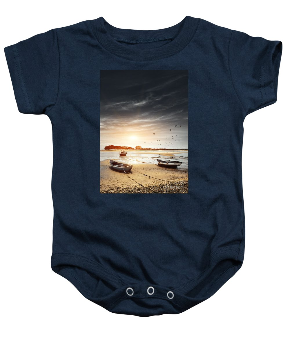 Atlantic Baby Onesie featuring the photograph Three Boats by Carlos Caetano