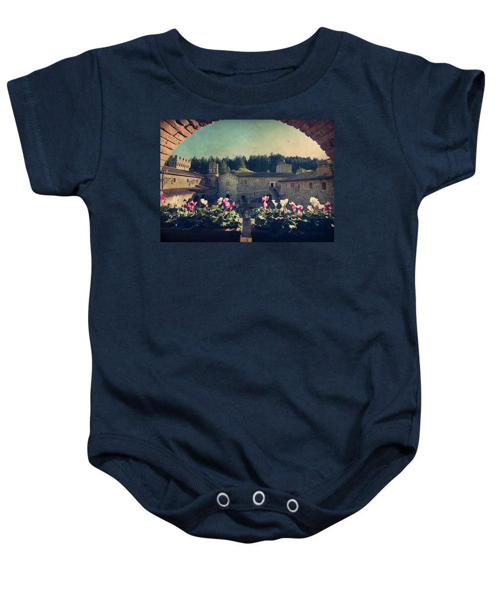 Castello Di Amorosa Baby Onesie featuring the photograph Through Time by Laurie Search