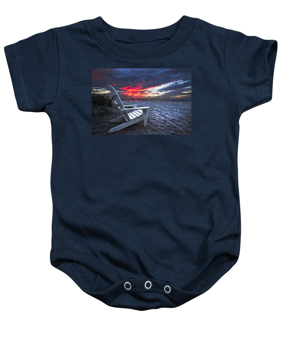 Clouds Baby Onesie featuring the photograph Thunderdawn by Debra and Dave Vanderlaan