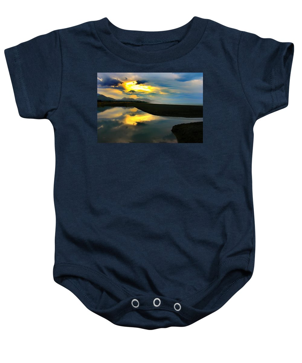 Kaikoura Coast Baby Onesie featuring the photograph Tidal Pond Sunset New Zealand by Amanda Stadther