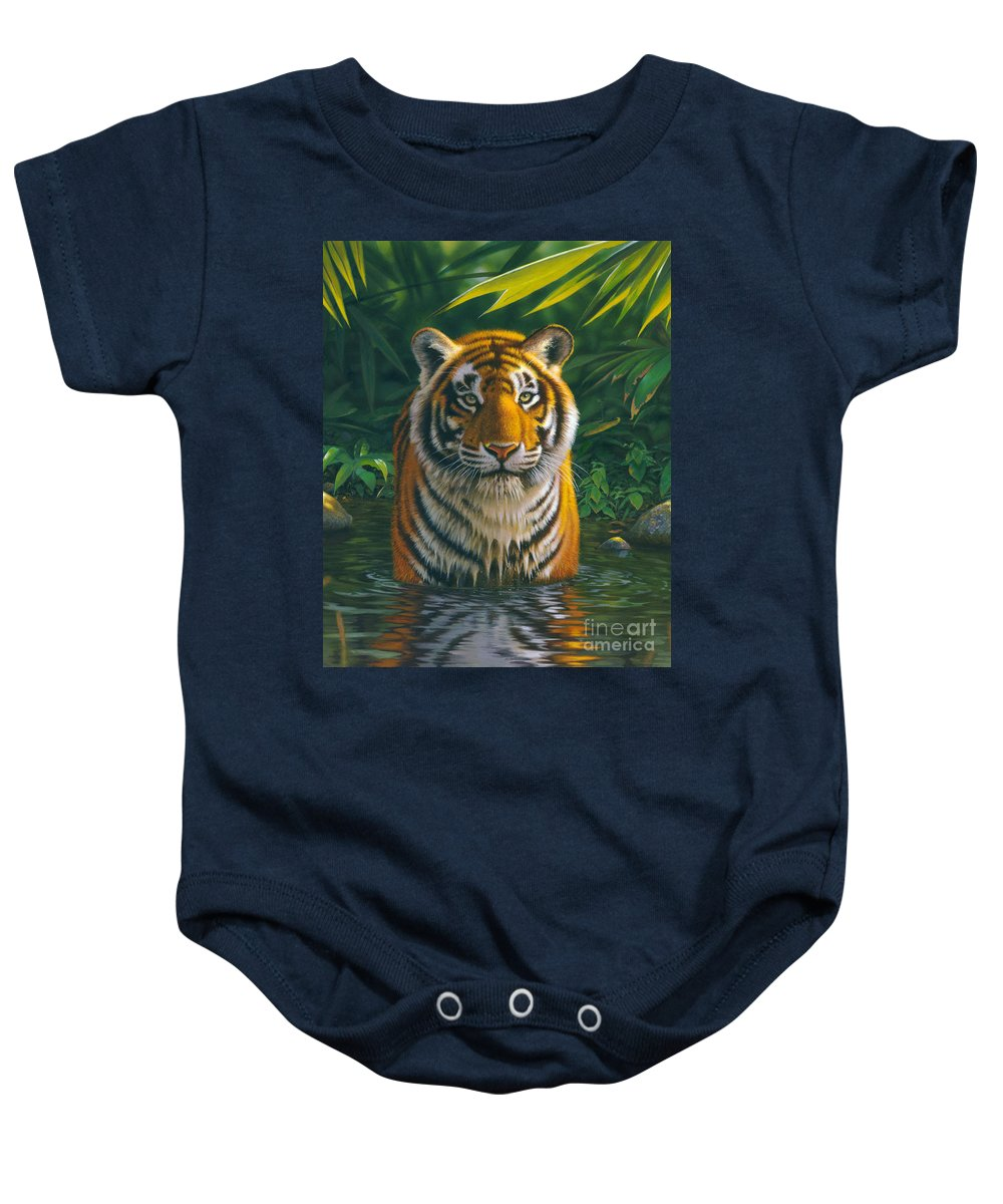 Animal Baby Onesie featuring the photograph Tiger Pool by MGL Meiklejohn Graphics Licensing