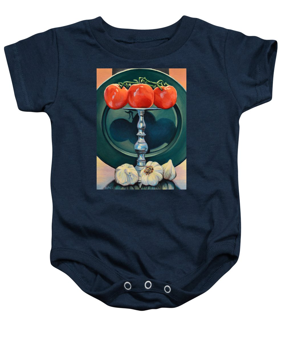 Still Life Baby Onesie featuring the painting Tomato And Garlic by Kenneth Cobb