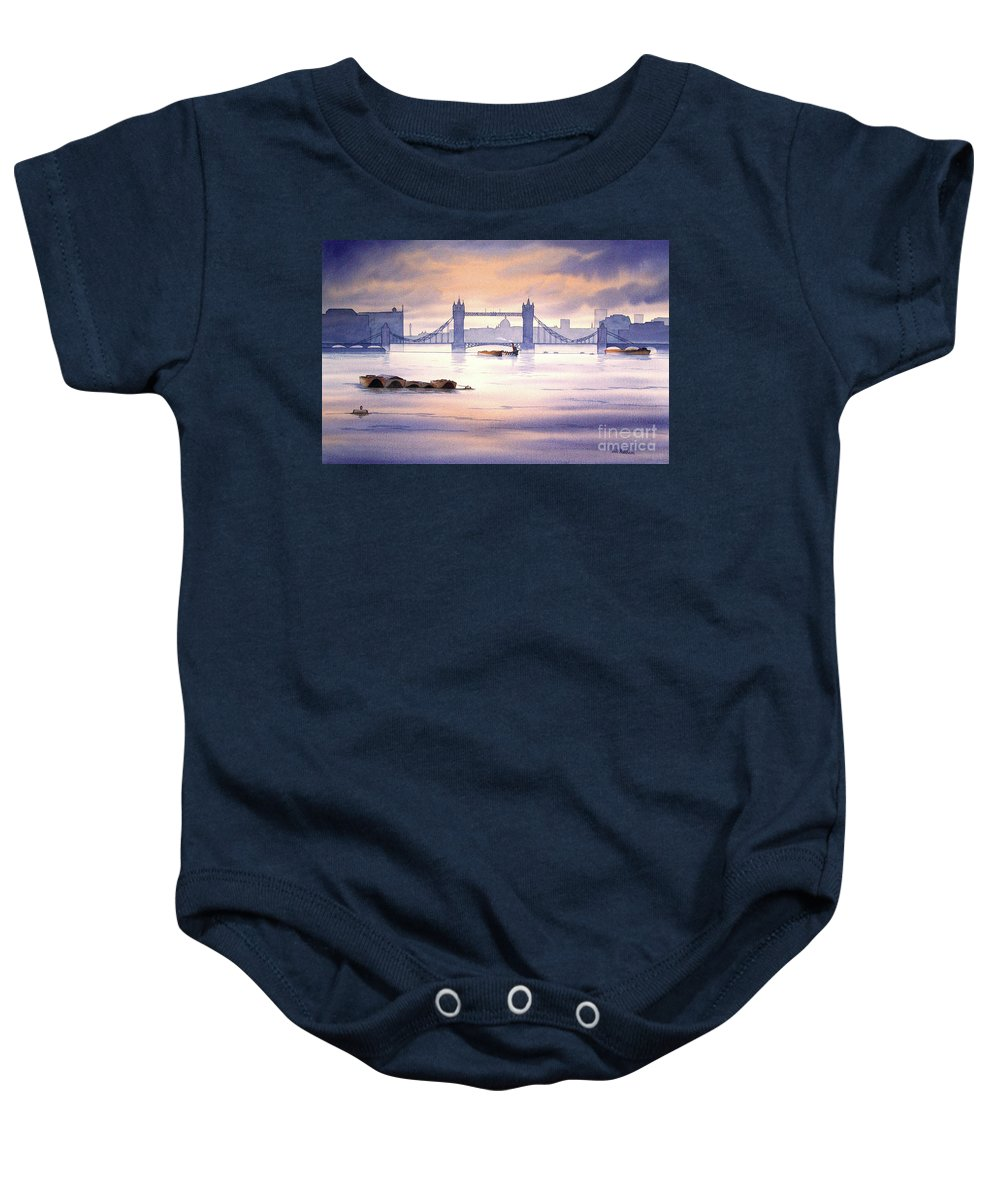 Tower Bridge Baby Onesie featuring the painting Tower Bridge London by Bill Holkham