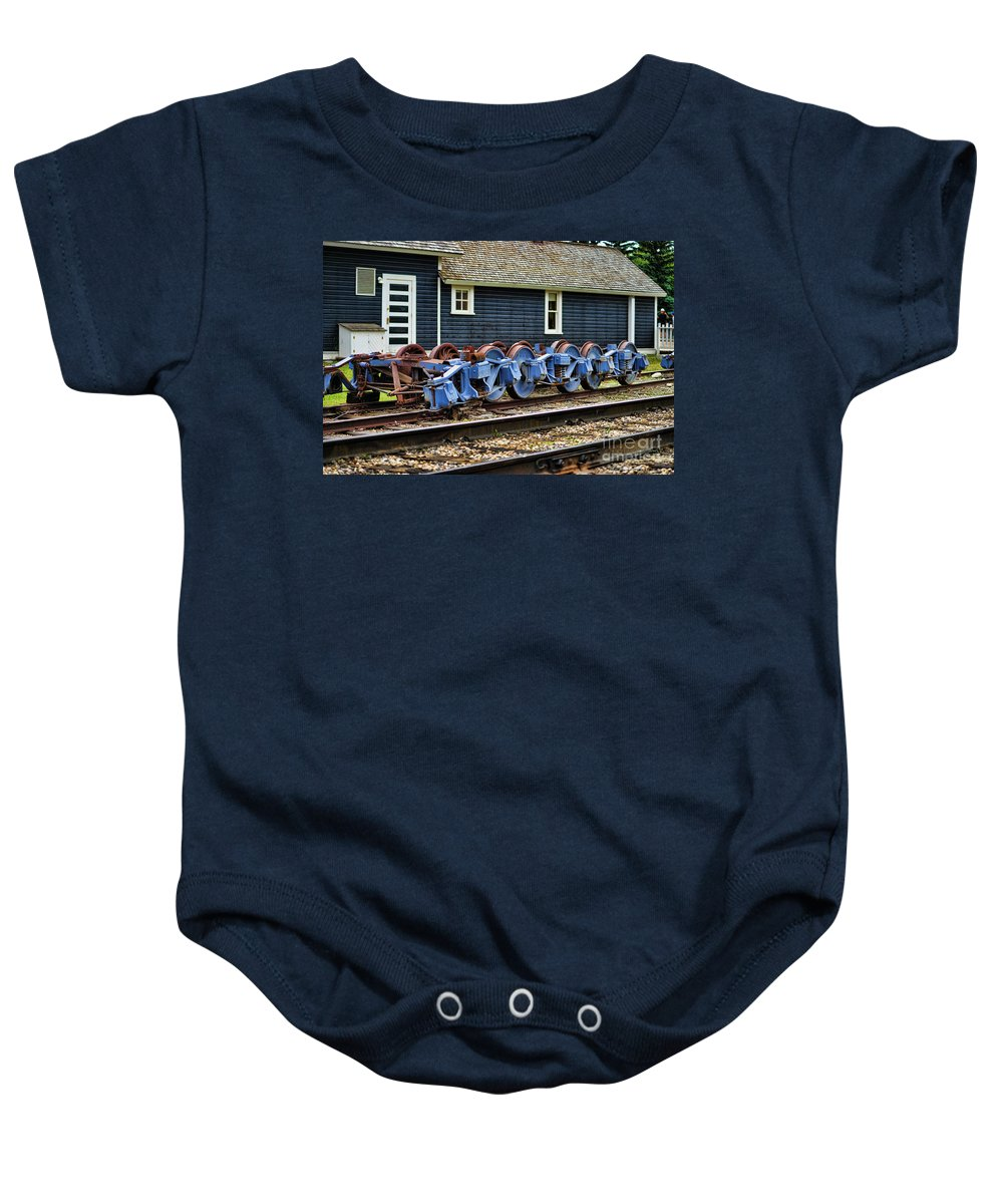 Trains Baby Onesie featuring the photograph Trains Tr3634-13 by Randy Harris