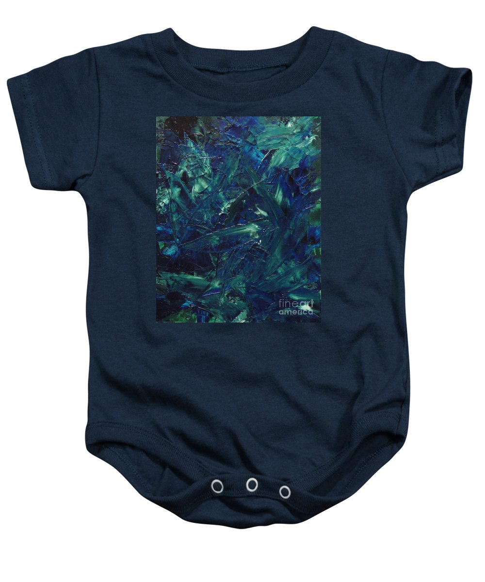 Abstract Baby Onesie featuring the painting Transtions Xi by Dean Triolo