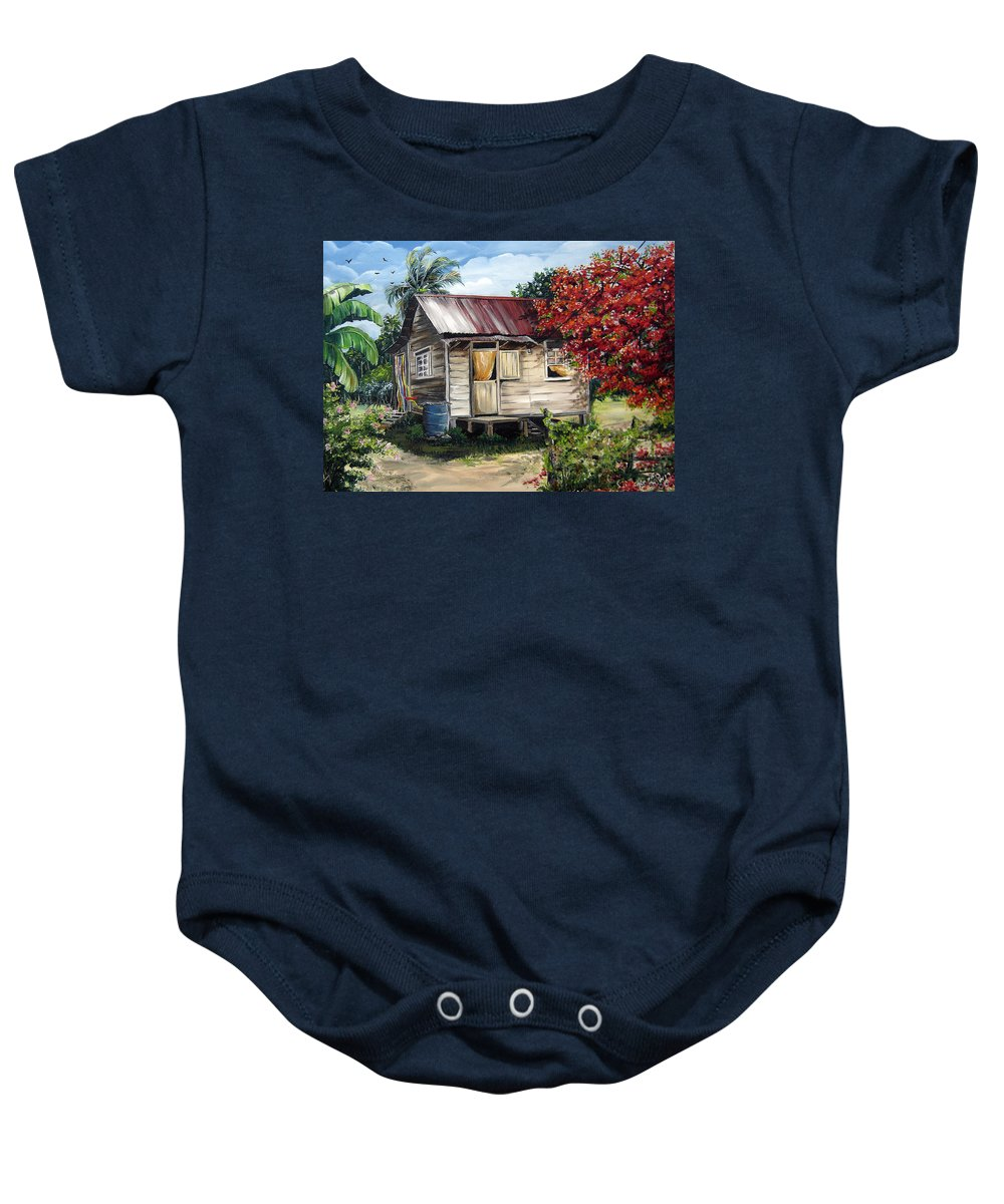 Landscape Paintings Tropical Paintings Trinidad House Paintings House Paintings Country Painting Trinidad Old Wood House Paintings Flamboyant Tree Paintings Caribbean Paintings Greeting Card Paintings Canvas Print Paintings Poster Art Paintings Baby Onesie featuring the painting Trinidad Life 1 by Karin Dawn Kelshall- Best