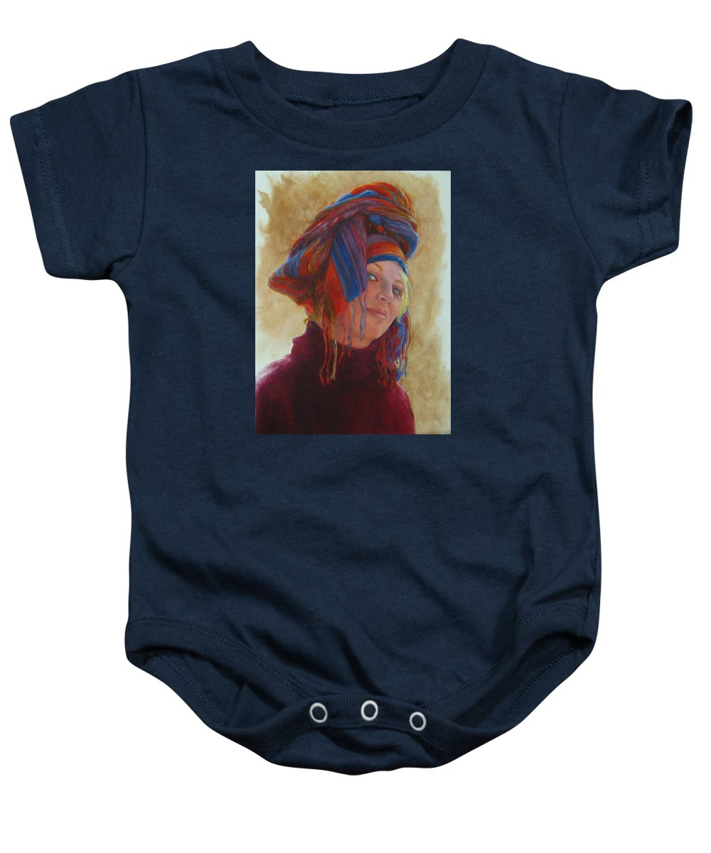 Figurative Baby Onesie featuring the painting Turban 2 by Connie Schaertl