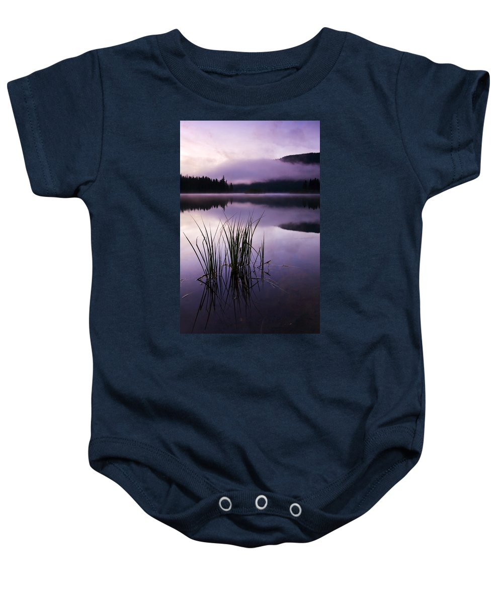 Lake Baby Onesie featuring the photograph Twilight Glow by Mike Dawson