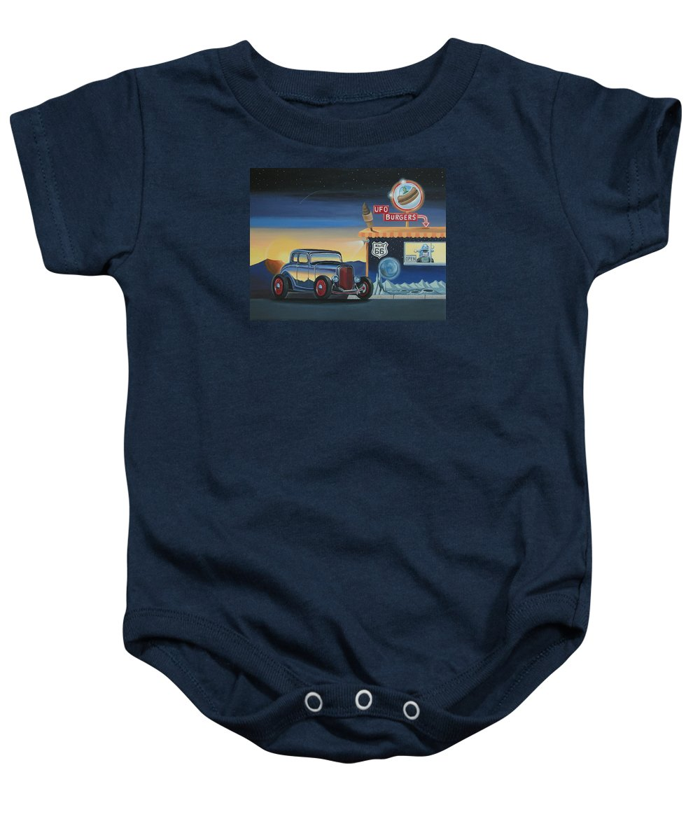 Hot Rod Baby Onesie featuring the painting U.f.o. Burgers by Stuart Swartz