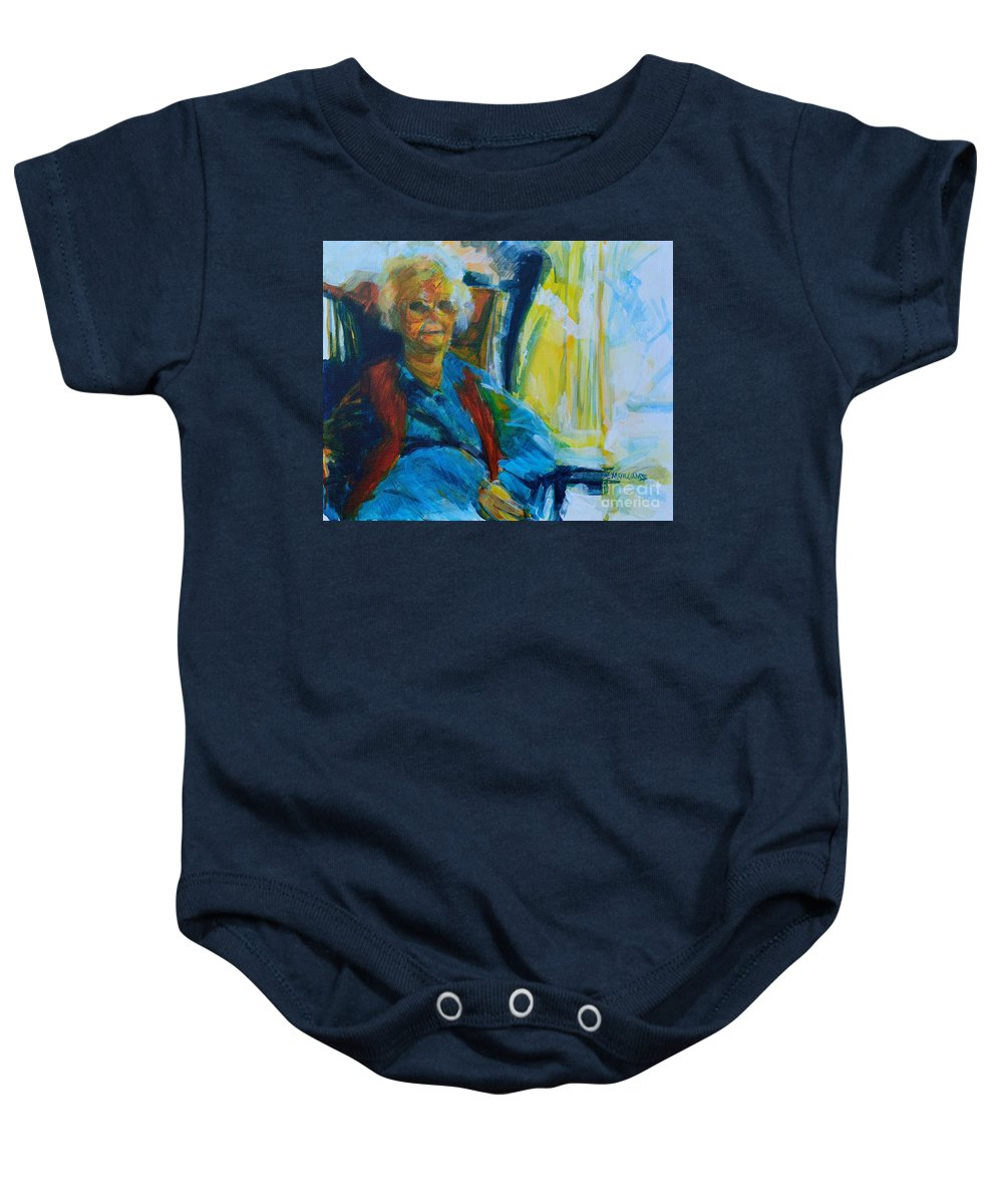 Alzheimers Baby Onesie featuring the painting Use 2b So Ez - Alzheimer's Perch - The Long Good-bye by Charles M Williams
