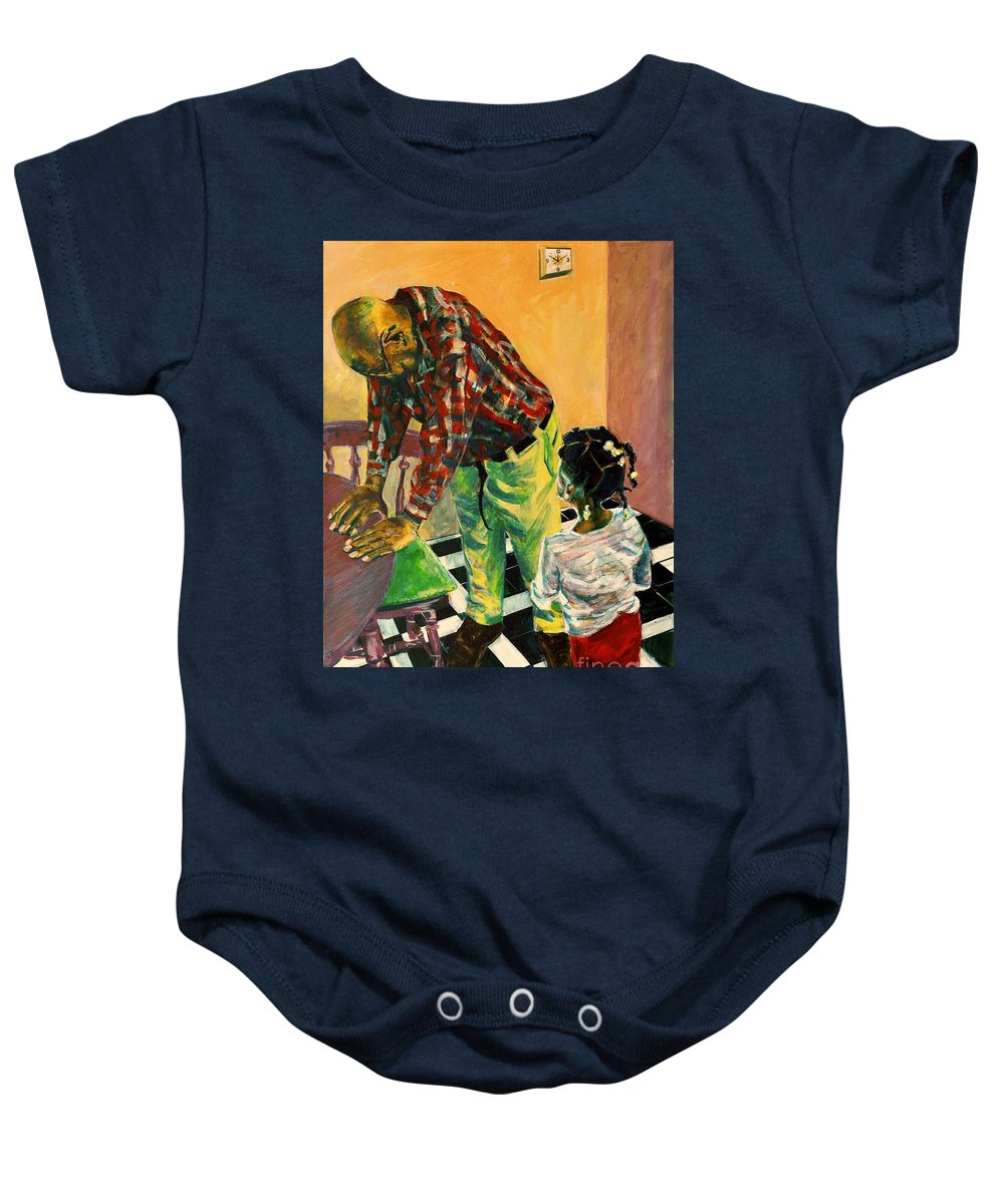 Time Baby Onesie featuring the painting Use 2b So Ez - Help Me Understand - The Long Good-bye by Charles M Williams