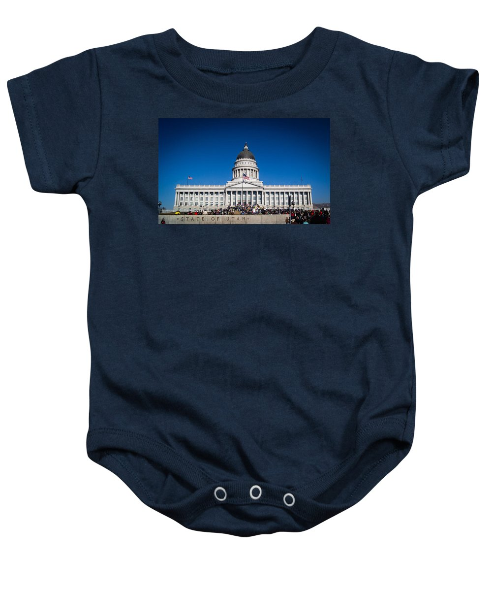Utah Baby Onesie featuring the photograph Utah State Capitol Building by Helix Games Photography
