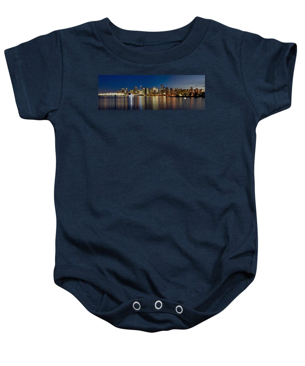 Vancouver Baby Onesie featuring the photograph Vancouver Bc Skyline From Stanley Park During Blue Hour by Jit Lim