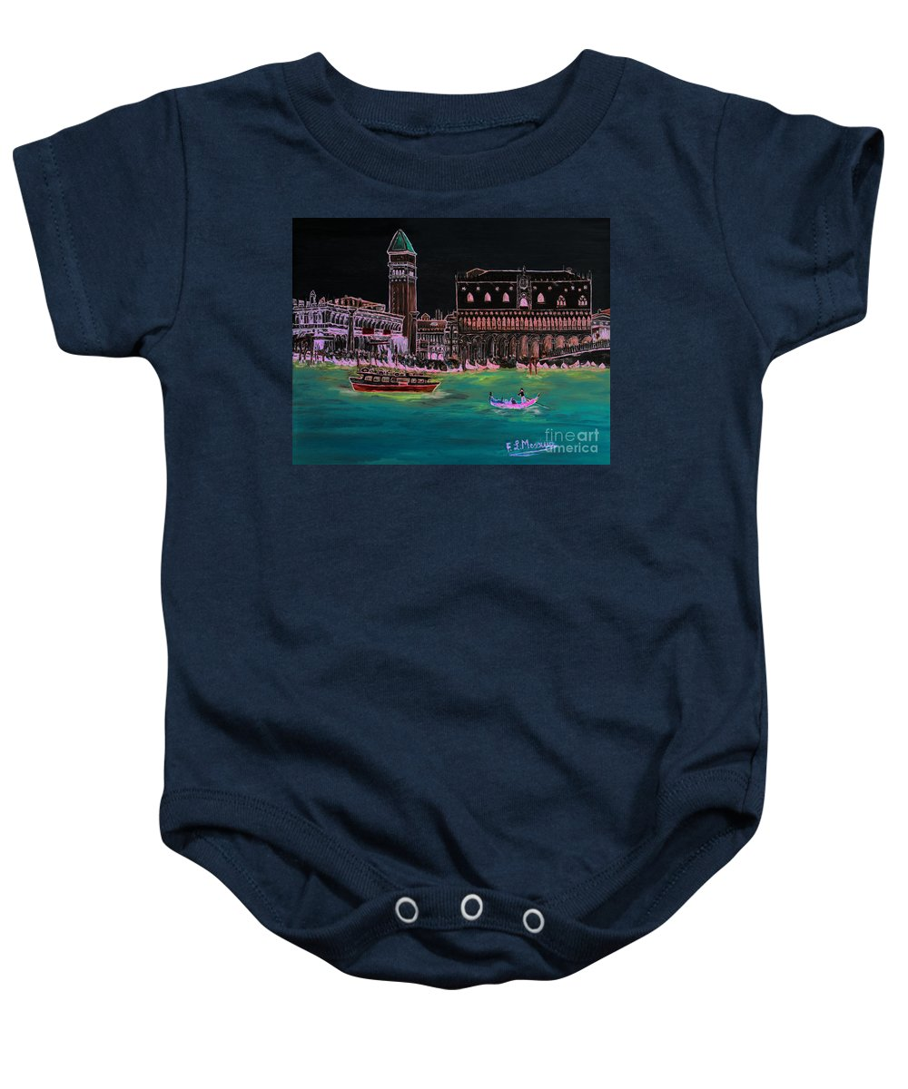 Loredana Messina Baby Onesie featuring the painting Venice At Night by Loredana Messina