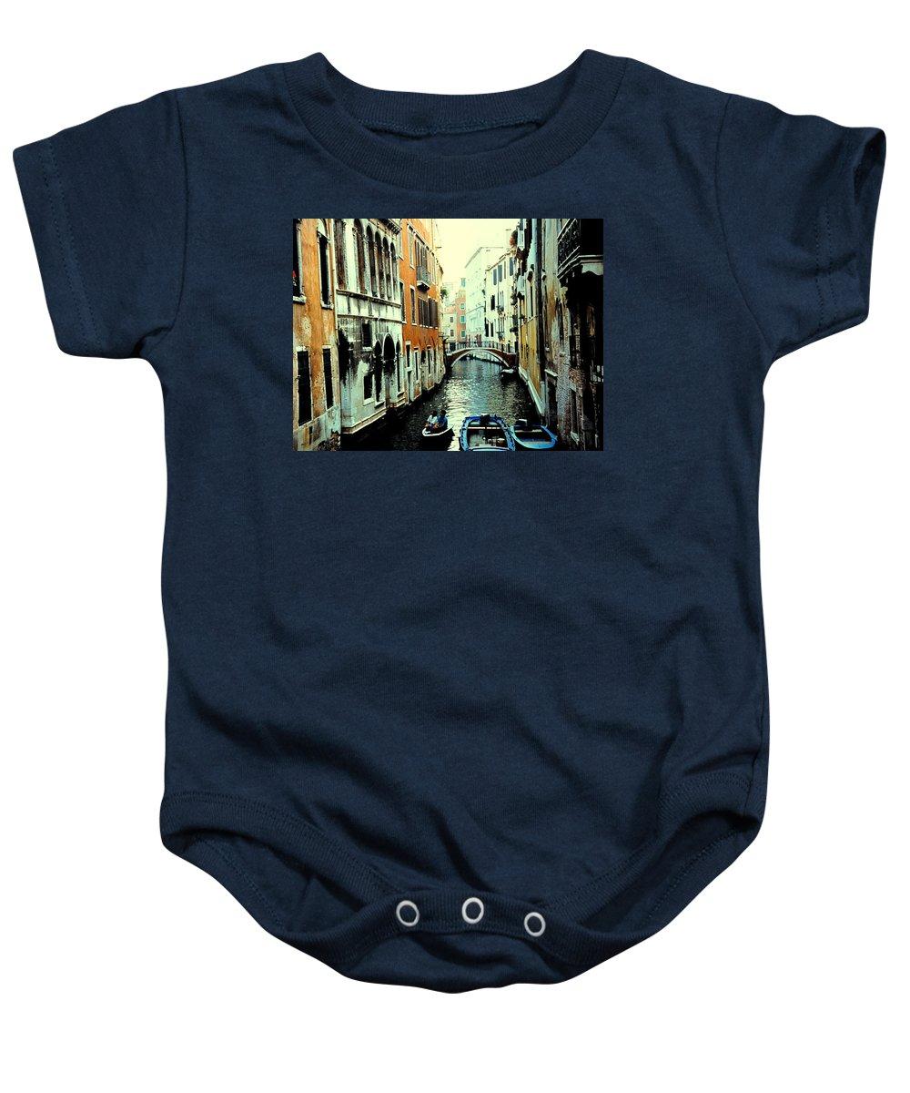 Venice Baby Onesie featuring the photograph Venice Street Scene by Ian MacDonald