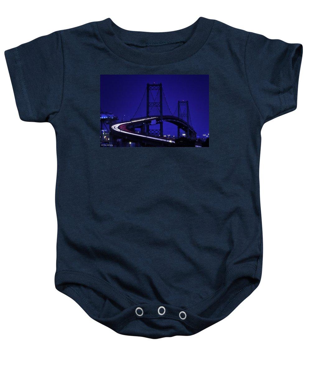 Bridge Baby Onesie featuring the photograph Vincent Thomas Bridge by Fran Gallogly
