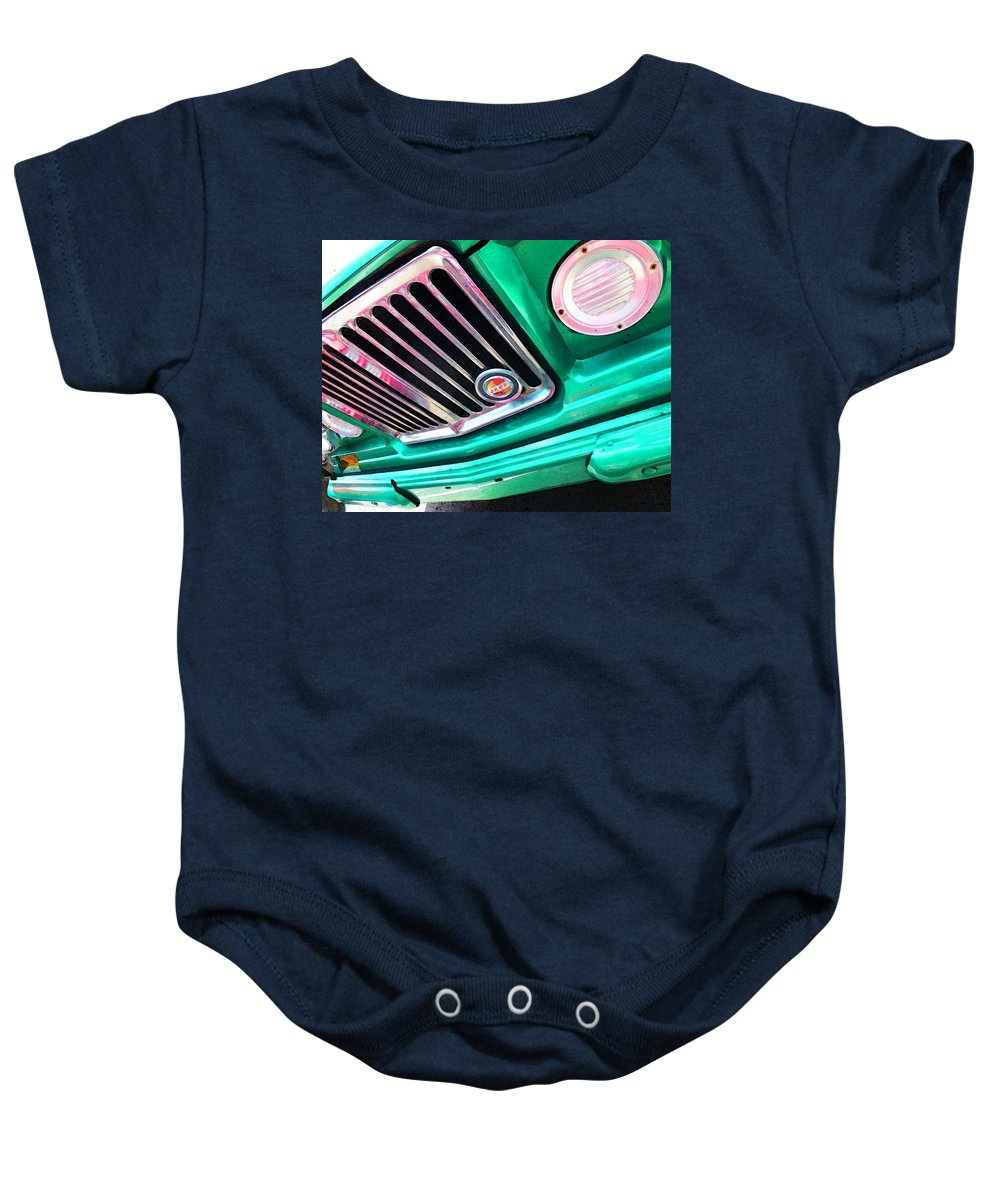 Jeep Baby Onesie featuring the painting Vintage Jeep - J3000 Gladiator By Sharon Cummings by Sharon Cummings