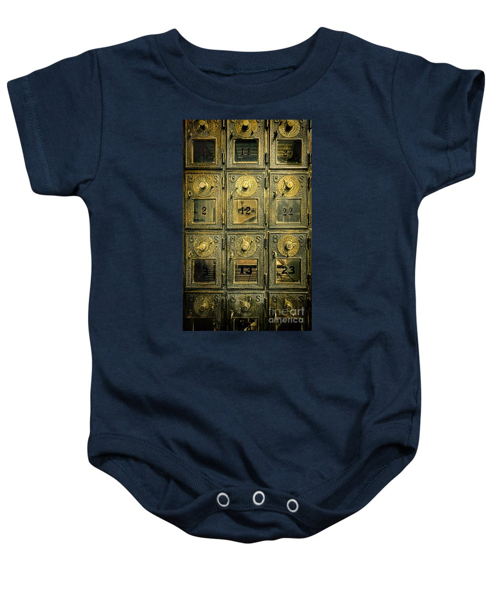 Mail Baby Onesie featuring the photograph Vintage Mailboxes by Jill Battaglia