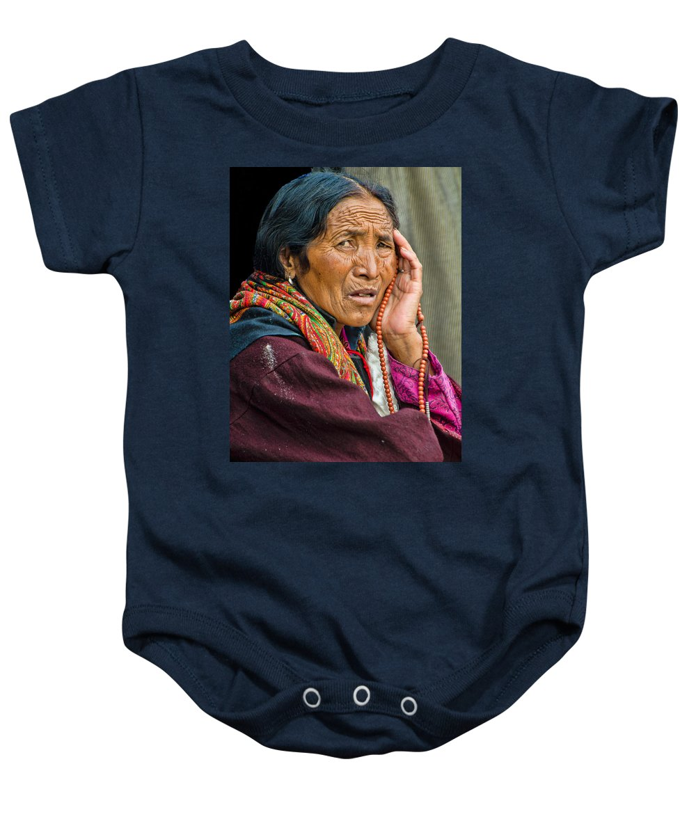 Dalai Lama Baby Onesie featuring the photograph Waiting In Dharamsala For The Dalai Lama by Don Schwartz