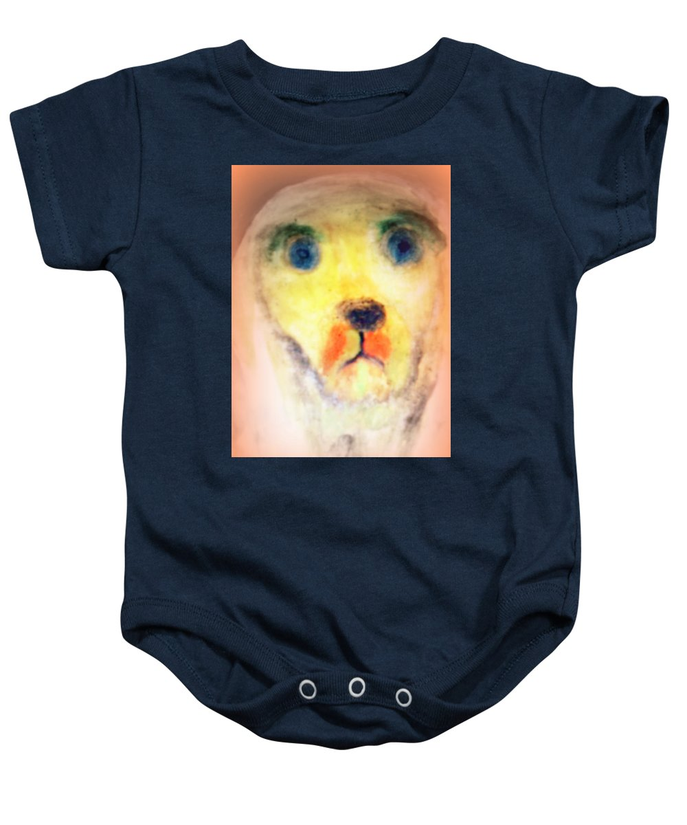 Dog Baby Onesie featuring the painting walk the walk with me or I will be staring at you forever by Hilde Widerberg