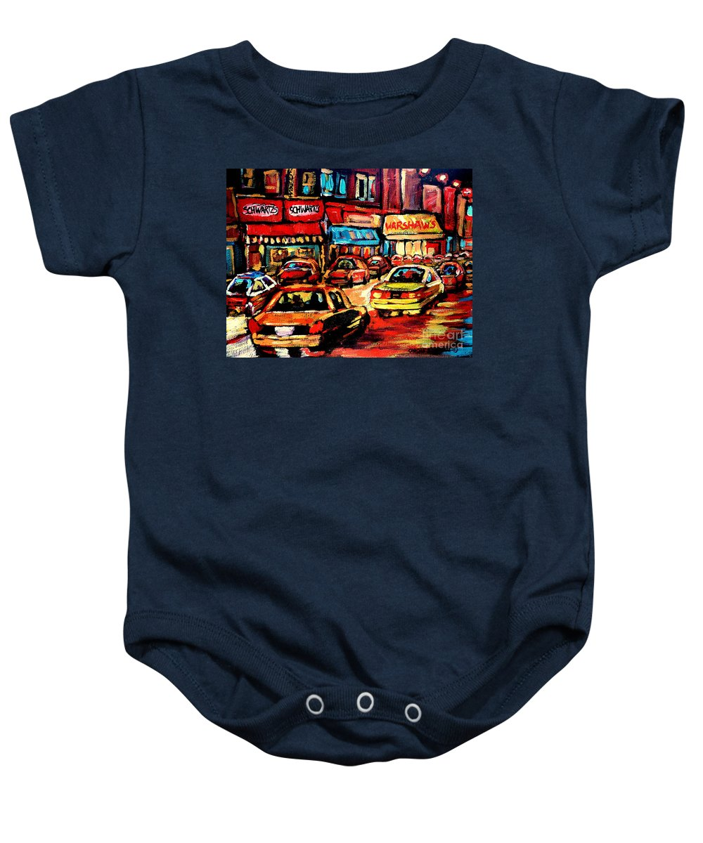 Warshaw's Fruit Market Baby Onesie featuring the painting Warshaw's Bargain Fruits Store Montreal Night Scene Jewish Montreal Painting Carole Spandau by Carole Spandau