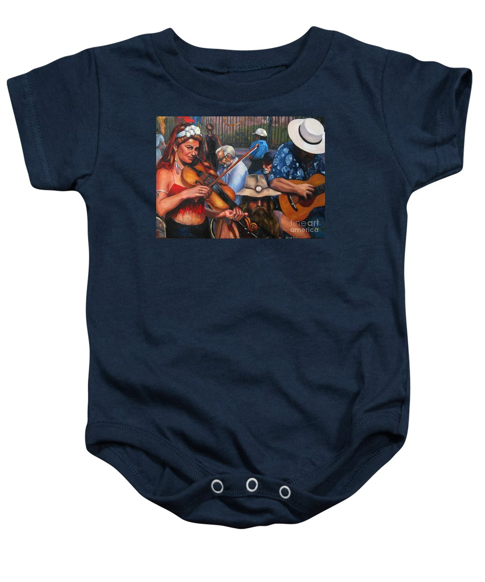 New Orleans Baby Onesie featuring the painting Washboard Lissa On Fiddle by Beverly Boulet