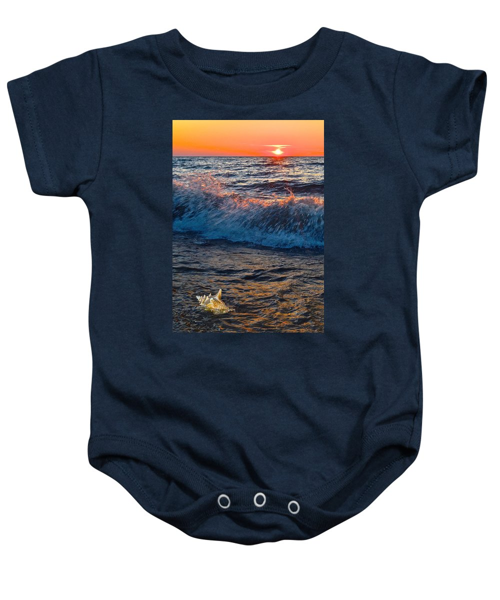 Tide Baby Onesie featuring the photograph Washing Ashore by Frozen in Time Fine Art Photography