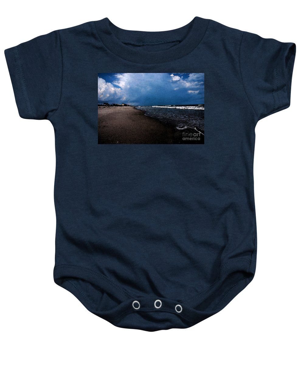 Beach Baby Onesie featuring the photograph watercolor Beach by Susanne Van Hulst