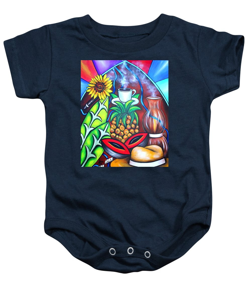 Cuban Paintings Baby Onesie featuring the painting Welcome To Here And Now by Annie Maxwell