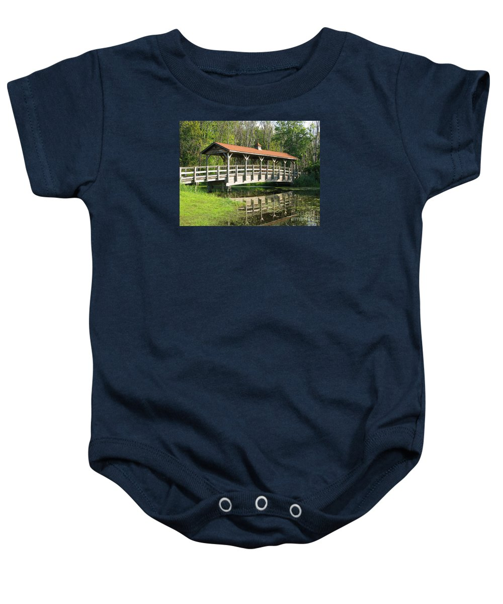 Bridge Baby Onesie featuring the photograph Wetland Footbridge by Ann Horn