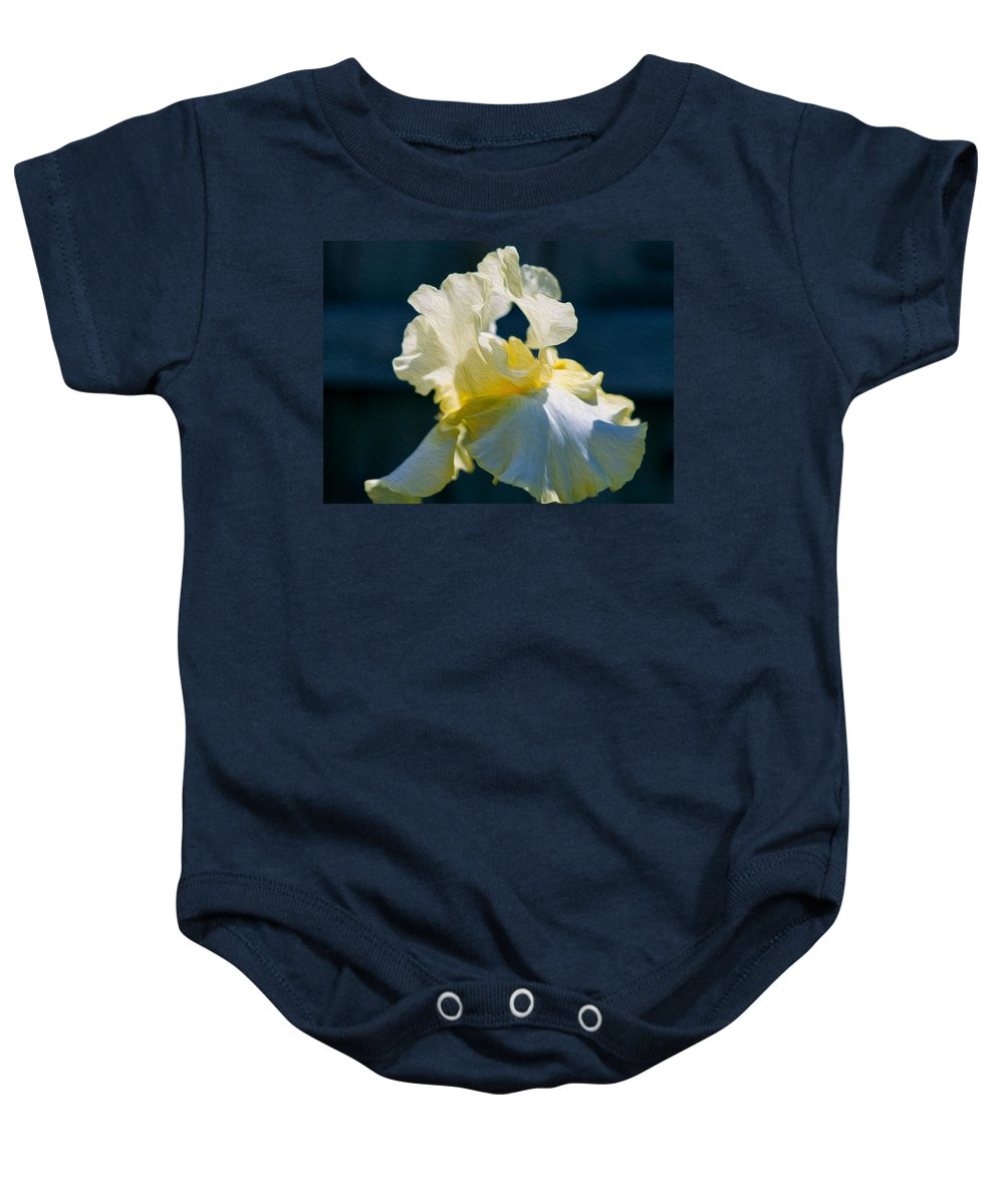 North Cascades Baby Onesie featuring the painting White Iris With Yellow by Omaste Witkowski