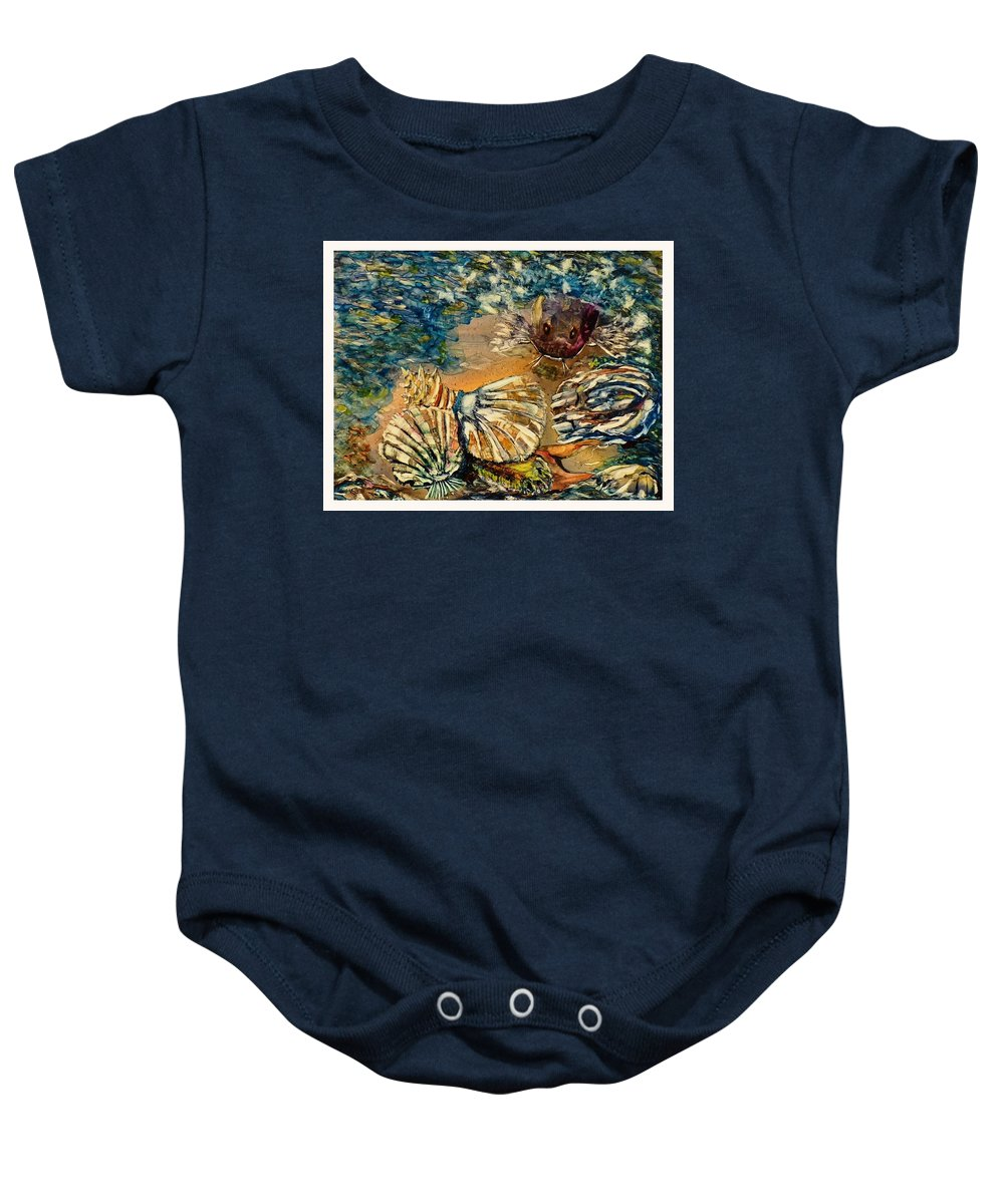 Ksg Baby Onesie featuring the painting Who's Got The Pearl? by Kim Shuckhart Gunns