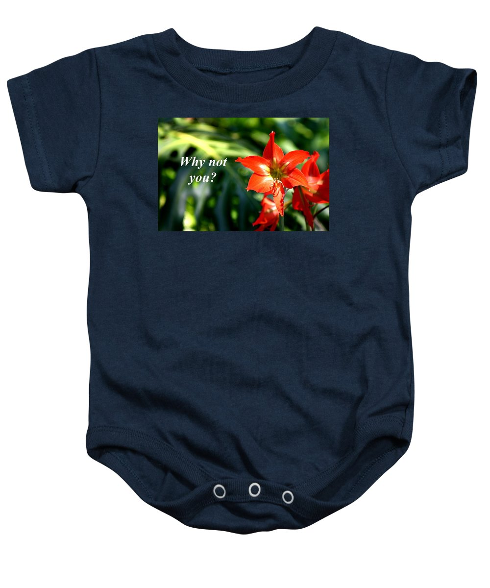 Orange Lilly Baby Onesie featuring the photograph Why Not You by Pharaoh Martin