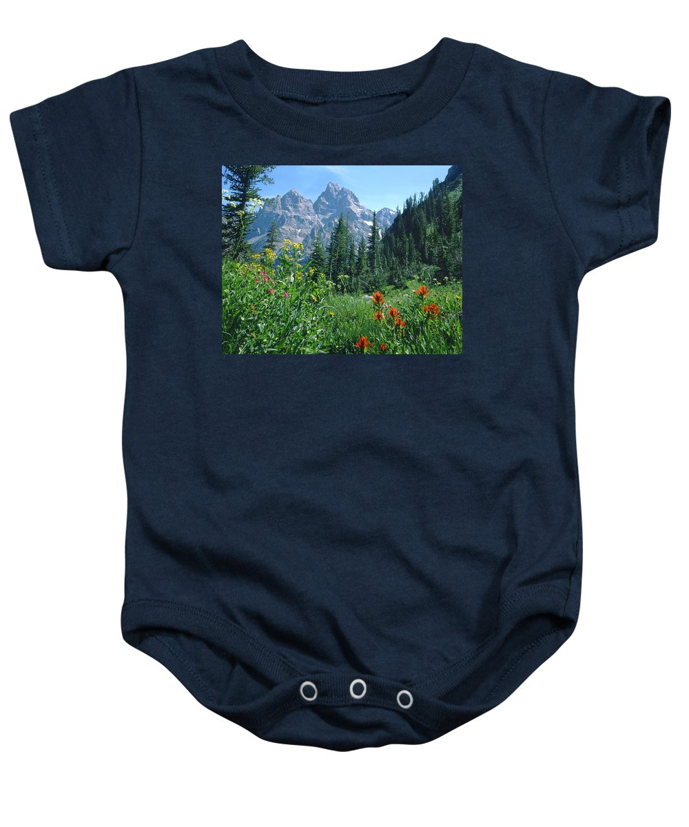 Wildflowers Baby Onesie featuring the photograph 1m9371-h-wildflowers In Cascade Canyon, Tetons by Ed Cooper Photography