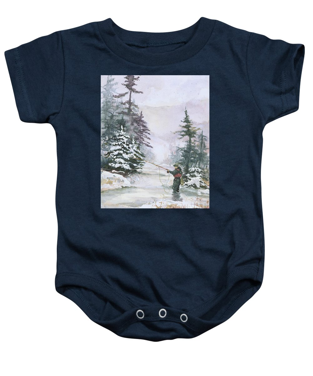 Magic Baby Onesie featuring the painting Winter Magic by Elisabeta Hermann