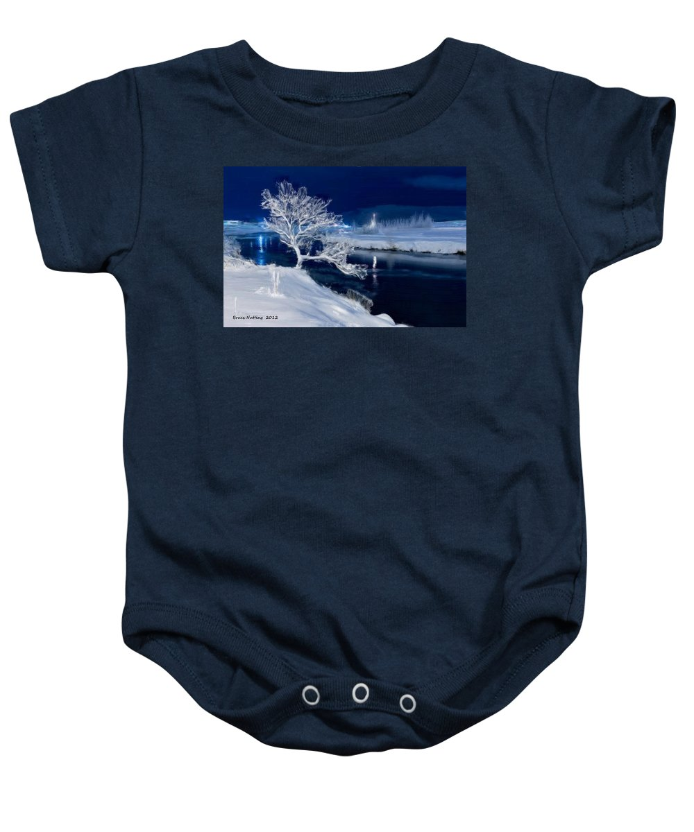 Snow Baby Onesie featuring the painting Winter Night by Bruce Nutting