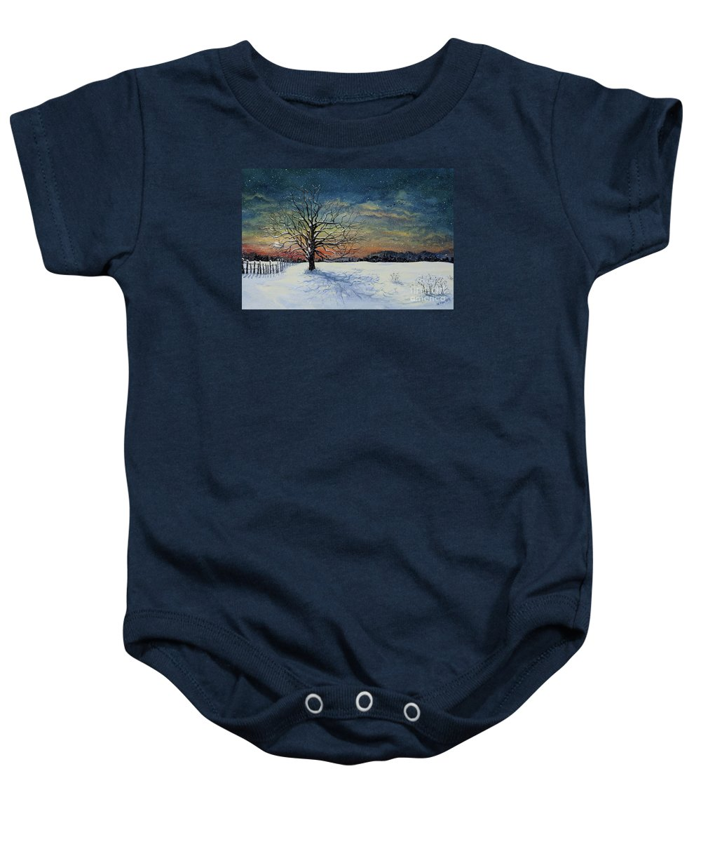Oak Tree Baby Onesie featuring the painting Winters Eve by Mary Palmer