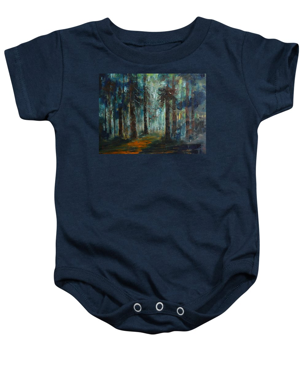 Landscape Baby Onesie featuring the painting Woodland At Wilsonia 02 by Pusita Gibbs