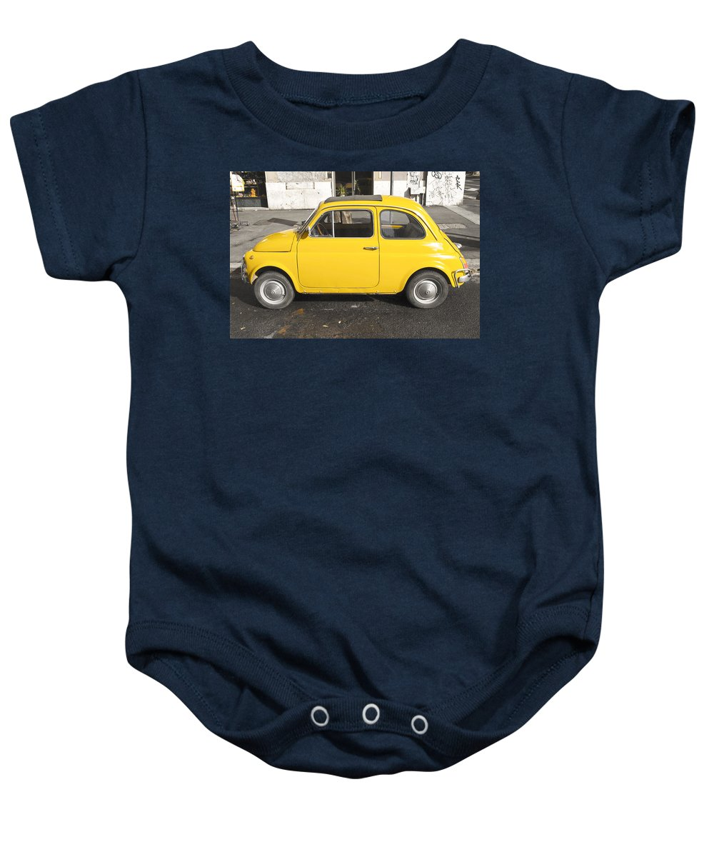 Car Baby Onesie featuring the photograph Yellow Car by Chevy Fleet