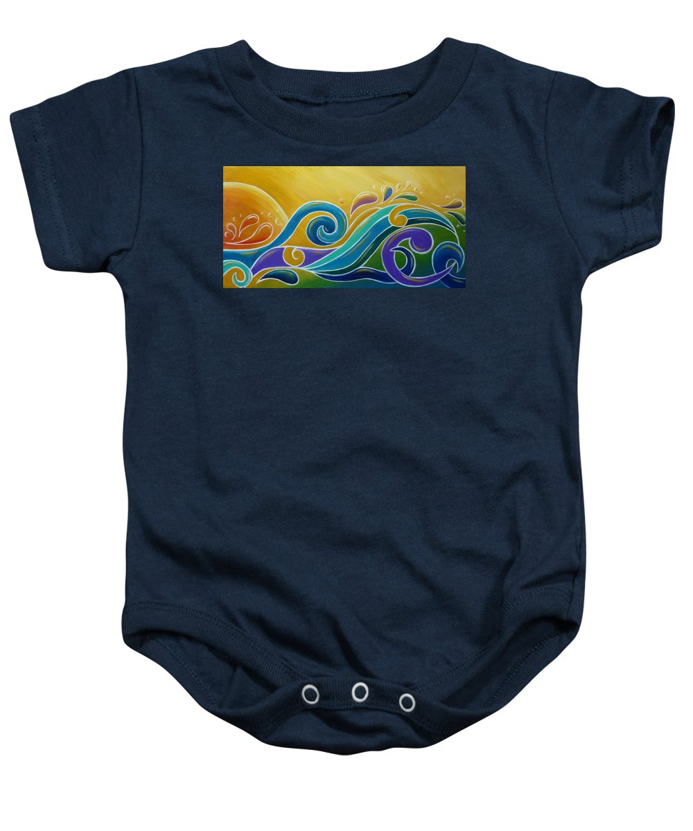 Abstract Prints Baby Onesie featuring the painting Yellow Sun Surf by Reina Cottier
