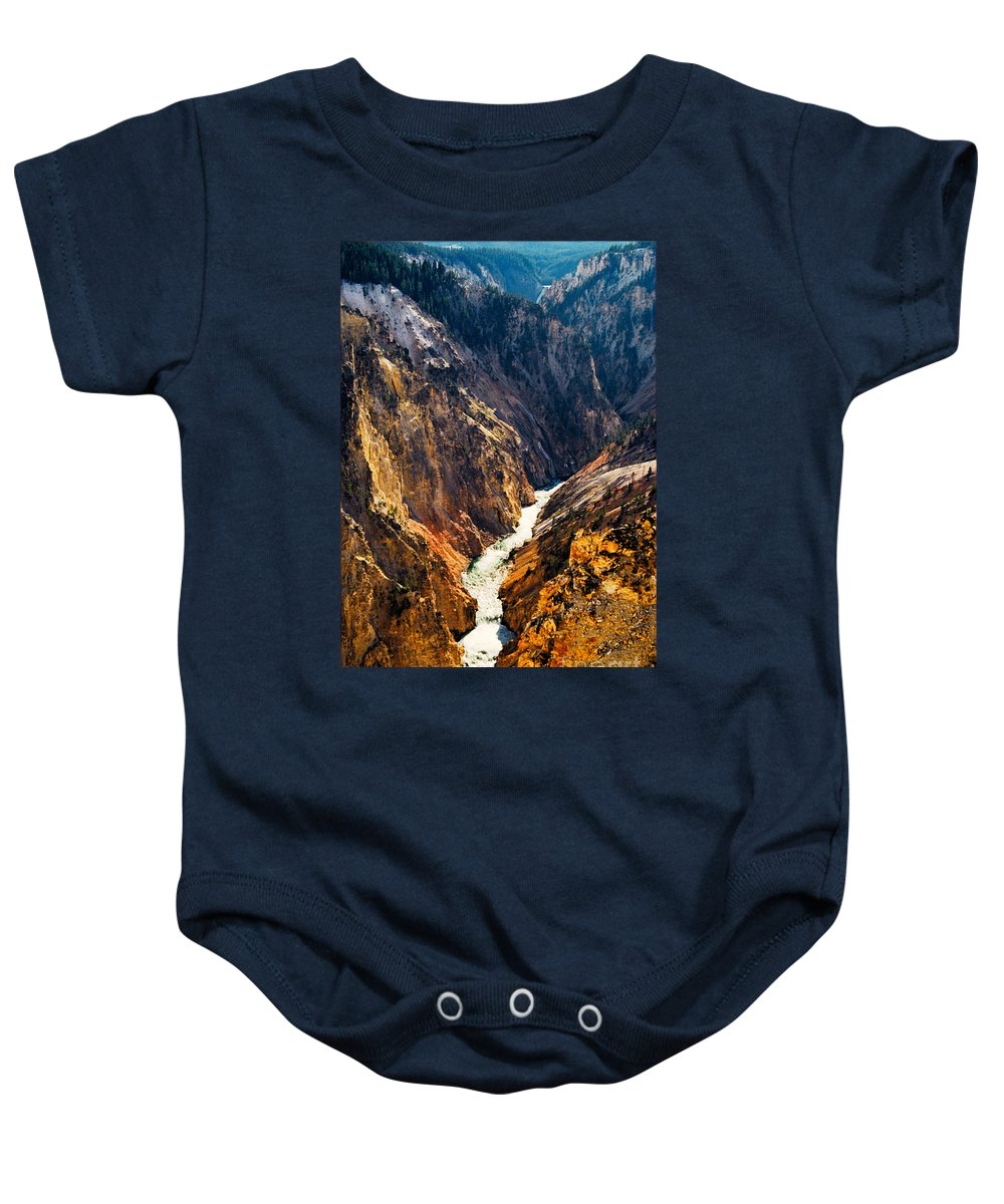 Yellowstone Baby Onesie featuring the photograph Yellowstone River by Kathy McClure