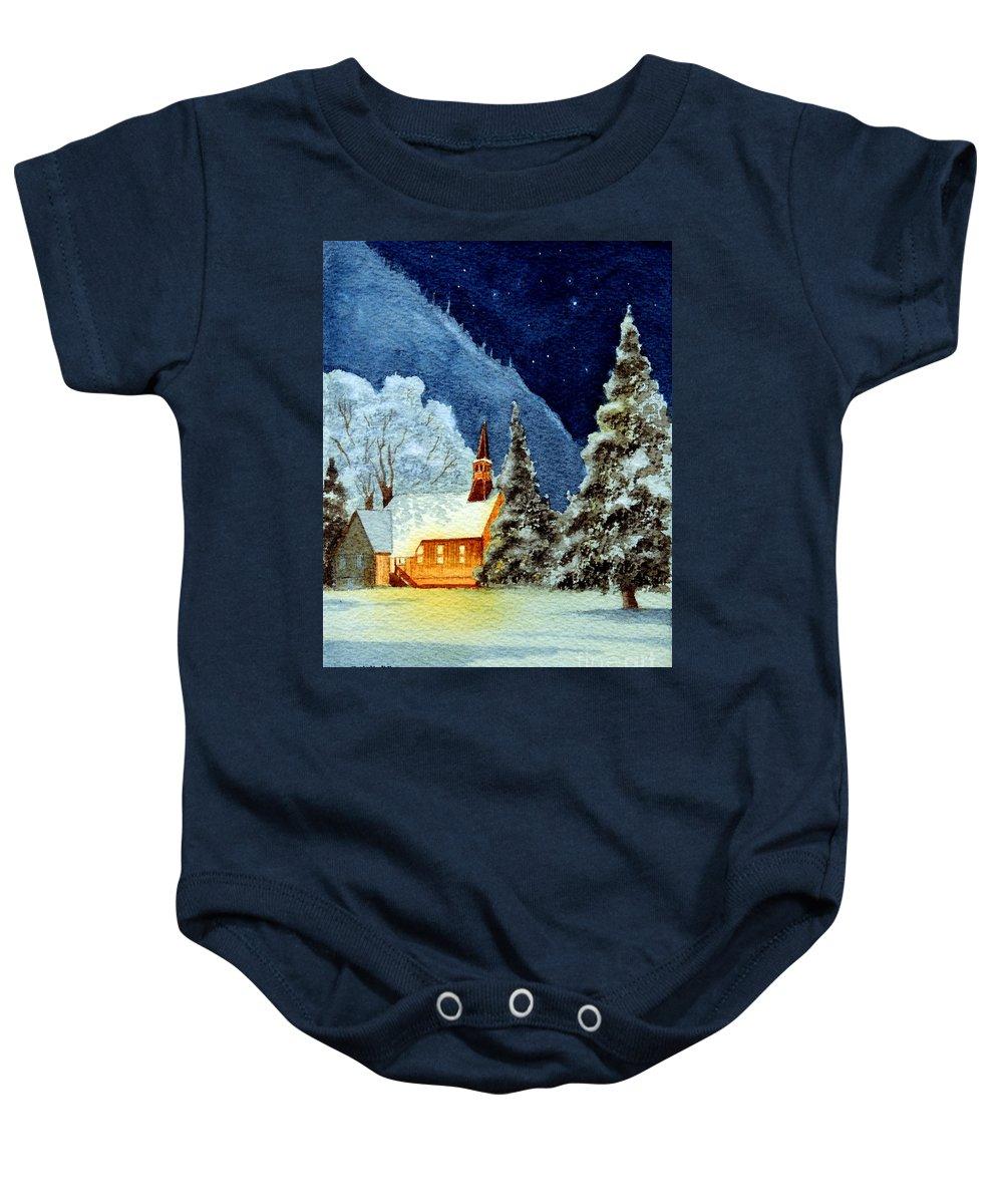 Yosemite Valley Chapel Baby Onesie featuring the painting Yosemite Valley Chapel by Bill Holkham